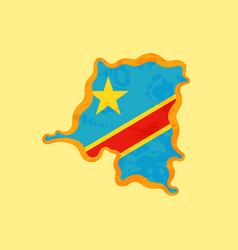 dr congo - map colored with congolese flag vector image