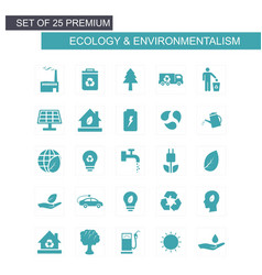 Ecology and enviromentalism icons set blue vector