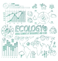 Ecology Doodle Infographic Elements vector image