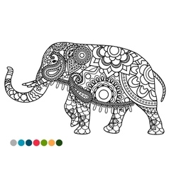 Elephant mandala ornament with colors samples vector image