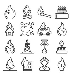 fere flames and firefighting icons set on white vector image