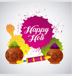 festive celebration powder color for happy holi vector image