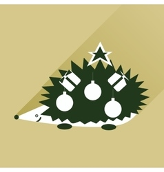 Flat icon with long shadow hedgehog gifts vector