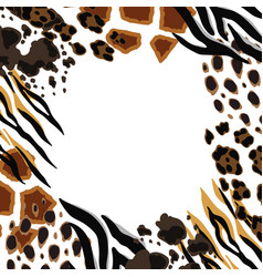 frame with decorative animal print african vector image