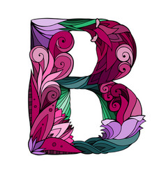 freehand drawing capital letter b with floral vector image