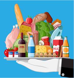 Fresh organic food and drinks vector
