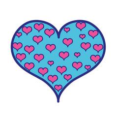 full color hearts design inside big heart vector image
