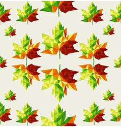 Geometric autumn leaves seamless pattern vector image