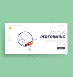 Girl gymnast performing on circus stage or sports vector