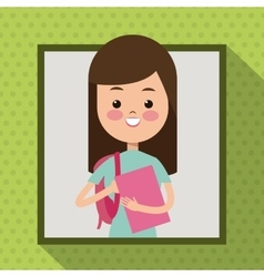 girl with book bag student frame dot shadow vector image