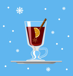 glass of mulled wine with lemon cinnamon and star vector image