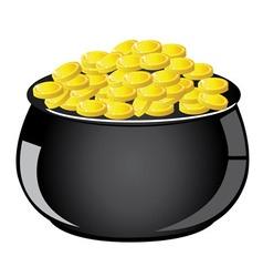 Golden coin pot vector