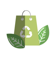 Green bag with recycling symbol and leaves vector