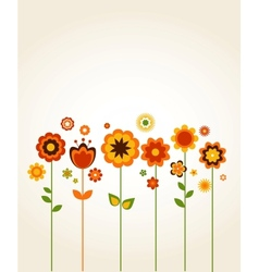 greeting card with cute flowers vector image