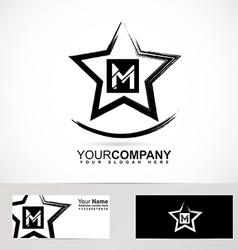 Grunge star letter M logo vector