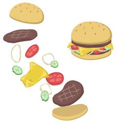 Hamburger breakup cartoon vector