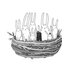 hand drawing sketch cute cartoon bunnies in the vector image
