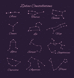 Hand drawn 12 zodiac constellations set vector