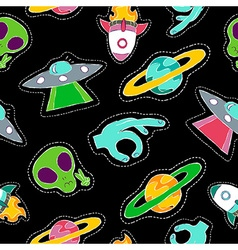 Hand drawn space patch icons seamless pattern vector image