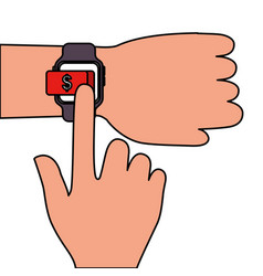 hand with smartwatch money button application vector image