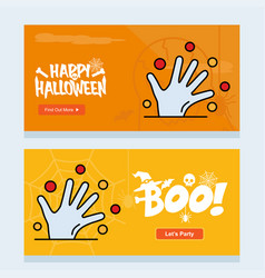 happy halloween invitation design with hand vector image
