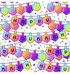 happy hanukkah celebration seamless pattern vector image