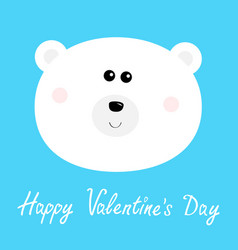 happy valentines day polar white bear cub round vector image