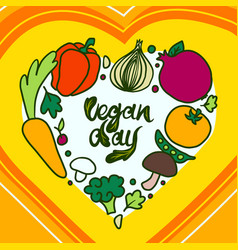happy vegan day concept background hand drawn vector image