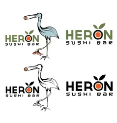 heron sushi bar design template vector image