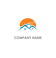 home real estate sunset logo vector image