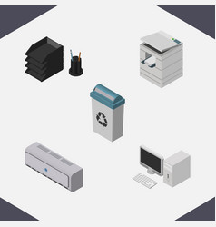 Isometric office set of garbage container wall vector