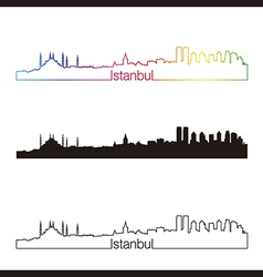 Istanbul skyline linear style with rainbow vector image