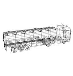 Large truck tanker with trailer isolated on grey vector