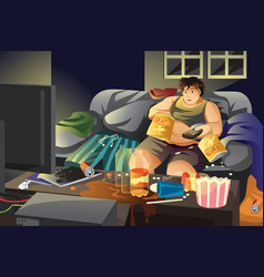 lazy man eating potato chips and watching tv vector image