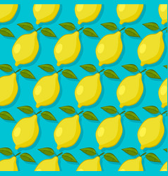 lemons on blue background seamless pattern vector image