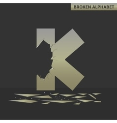 Letter K Broken mirror vector