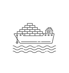Linear cargo ship with container and wave vector