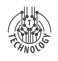 logo abstract chip technology vector image