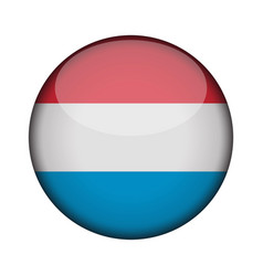 Luxembourg flag in glossy round button of icon vector