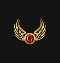 Luxury letter g emblem wings logo design concept vector