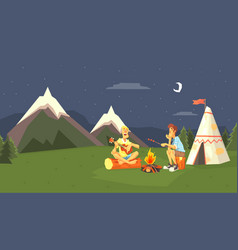 male tourists camping at evening time against vector image