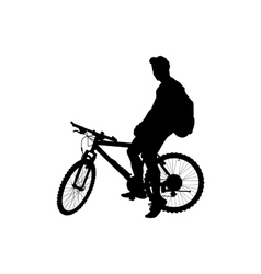 man with a backpack on a bicycle vector image