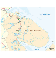 map kola peninsula in northwest russia vector image