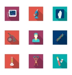 Medicine and hospital set icons in flat style Big vector image