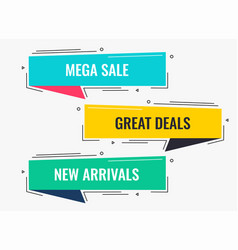 memphis style flat sale and discount banner design vector image