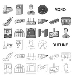 Metro subway monochrom icons in set collection vector