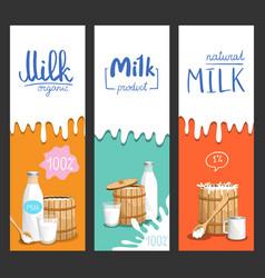 milk products vertical flyer set vector image