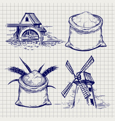Mill wheat and flour bag sketch vector
