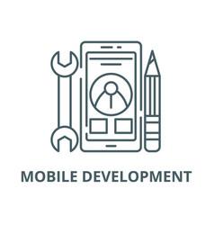 mobile development line icon linear vector image