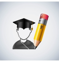 Pencil and student icon Study and instrument vector image